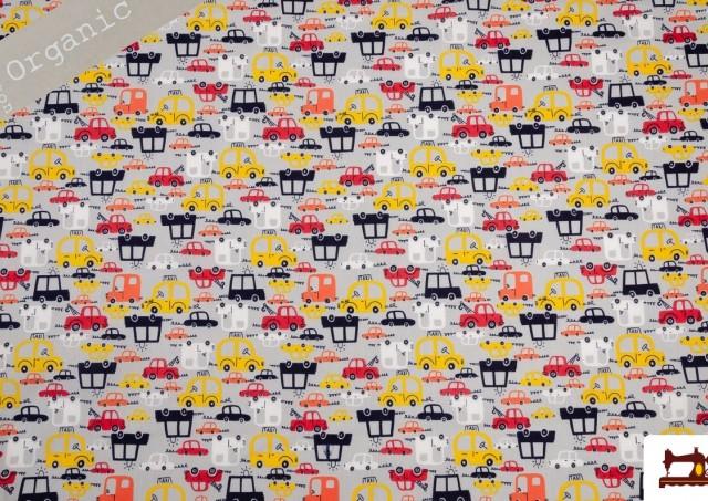 Tissu en Coton Organique Imprimé Coordonné avec Voitures