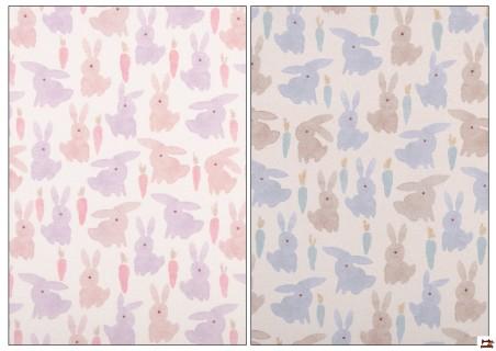 Tissu en Coton Imprimé avec Lapins de Couleurs