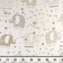 Tissu Piqué de Coton Imprimé avec Éléphants