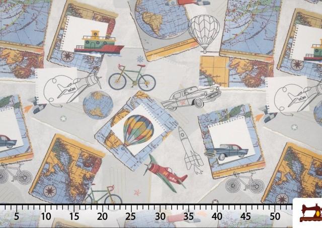Tissu en Canvas Imprimé avec Motifs du Monde