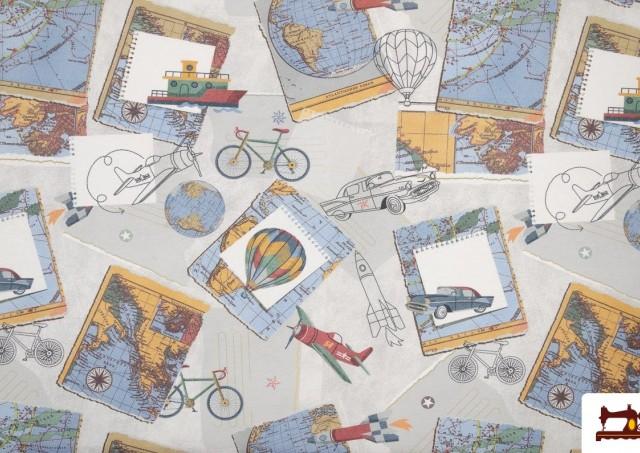 Acheter Tissu en Canvas Imprimé avec Motifs du Monde