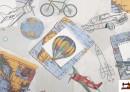 Tissu de Canvas Imprimé Juvénile avec Motifs du Carte du Monde