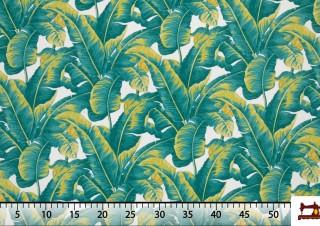 Tissu de Canvas Imprimé avec Plantes Tropicales Vertes