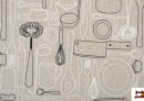 Acheter en ligne Tissu de Canvas Imprimé avec Service de Table