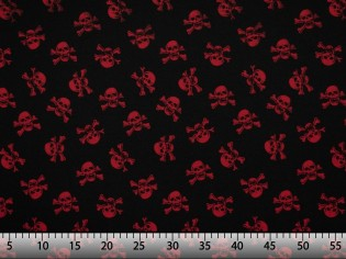 Tissu avec Têtes de Morts Rouges Économique