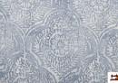 Tissu en Canvas Imprimé avec Médaillon Floral Bleu Estompé
