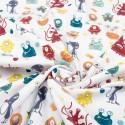 Tissu de T-shirt Imprimé avec Monstres Amusants