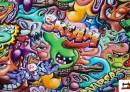 Tissu de Sweat Imprimé avec Graffiti Multicolore