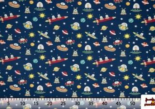 Tissu de Tee-Shirt Imprimé avec Martiens de l'Espace