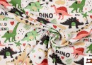 Vente de Tela de Popelín de Algodón Estampado Dinosaurios