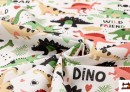 Acheter en ligne Tela de Popelín de Algodón Estampado Dinosaurios
