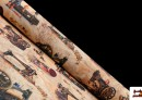 Tissu pour décoration imprimé avec motifs de machines à coudre