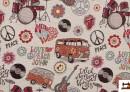 """Tissu Gobelin avec Motifs de Fourgonnettes Hippies, et """"Paix et Amour"""""""