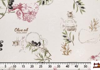 Tissu Imprimé avec Motifs de Feuilles d'Olivier et Huile