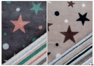Tissu en Minky Imprimé avec Étoiles et Rayures de Couleurs (réversible)