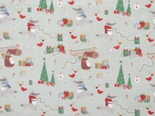 Tissu de Noël avec Arbres et Rennes