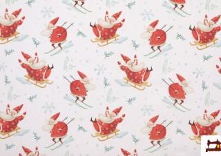 Tissu de Noël Imprimé avec Papa Noël
