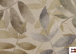 Tissu en Canvas Imprimé avec Feuilles en Couleurs Douces