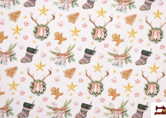 Tissu Imprimé avec Motifs de Noël