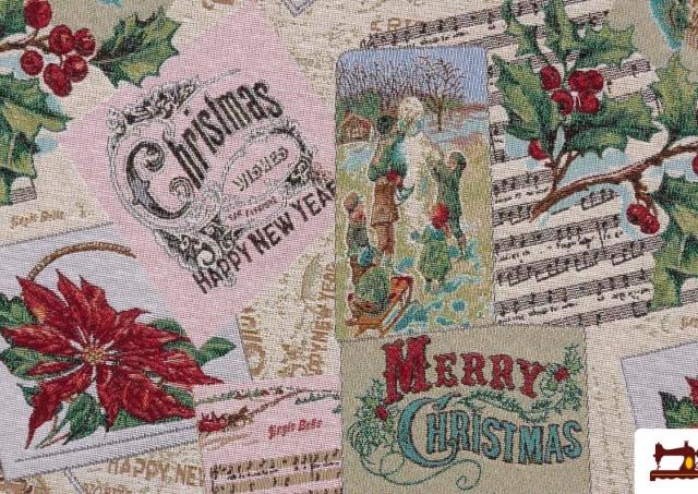Tissu pour Tapisserie en Gobelin avec Imprimé Noël