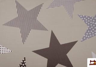 Tissu Beige avec Étoiles