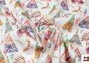 Vente en ligne de Tissu en Popeline Imprimé avec Tentes d'Indiens