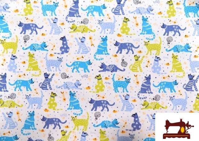 Tissu Infantile avec Étoiles et Éléphants couleur Bleu