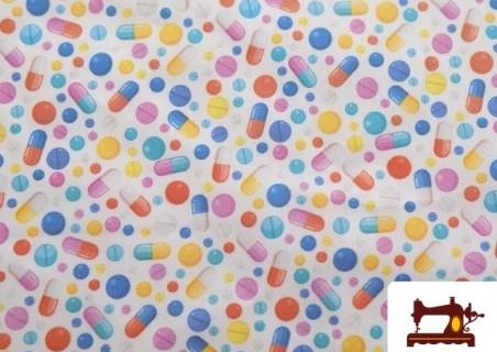 Tissu en Coton Imprimé avec cachets et comprimés de couleurs