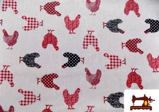 Tissu en Coton Imprimé avec Poules de Couleurs