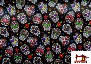 Tissu avec Têtes de Morts Mexicaines Multicolore et Blanches