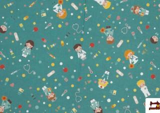 Tissu en Coton Imprimé avec Médicins et Infirmières