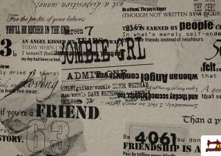 OUTLET Tissu en Canvas Imprimé avec Lettres