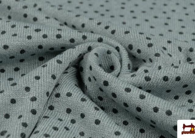 Tissu en Sweat Fin avec Imprimé Infantile à Pois couleur Vert mer