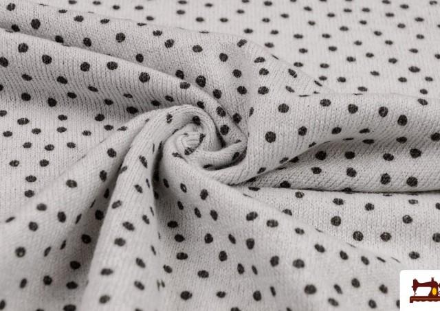 Tissu en Sweat Fin avec Imprimé Infantile à Pois couleur Gris clair