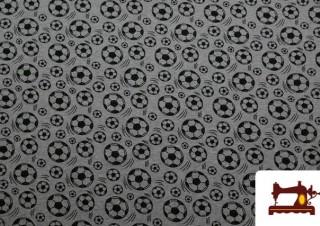Tela de Sudadera Coralina Estampado Pelotas de Fútbol