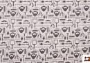 Tissu Imprimé avec Motifs du Salon de Coiffure