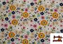 Tissu en Sweat Flannel Imprimé avec Fleurs