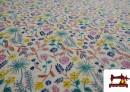 Tissu en Sweat Flannel Imprimé avec Fleurs Sauvages