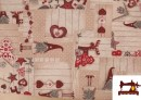 Tissu en Canvas Imprimé avec Gnomes de Noël