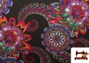 Tissu de Tee-Shirt Interlock avec Imprimé Mandala