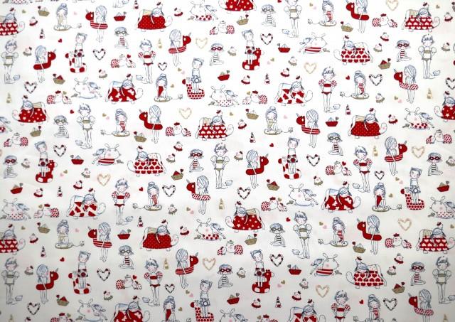 Tissu Piqué avec Imprimé Infantile couleur Rouge
