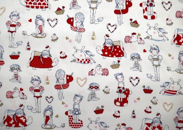 Acheter Tissu Piqué avec Imprimé Infantile couleur Rouge
