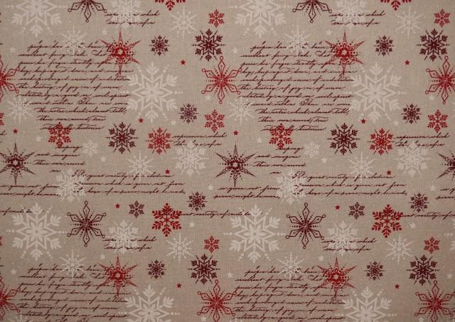 Tissu Rouge de Noël avec Flocons de Neige et Écritures