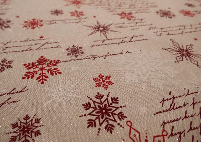 Acheter Tissu Rouge de Noël avec Flocons de Neige et Écritures