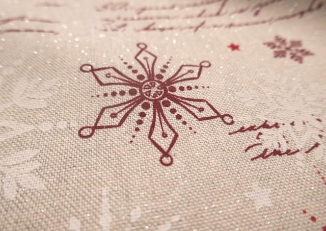 Vente de Tissu Rouge de Noël avec Flocons de Neige et Écritures