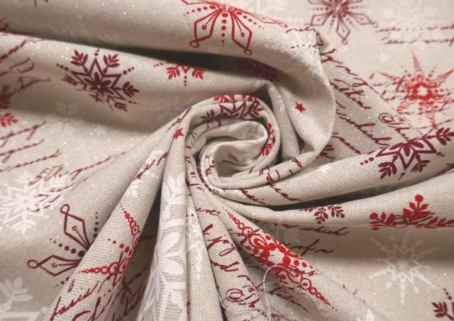 Acheter en ligne Tissu Rouge de Noël avec Flocons de Neige et Écritures