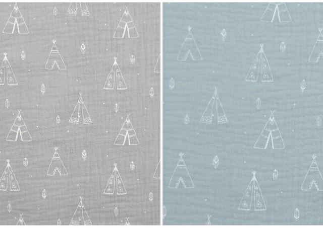 Tissu en Mousseline Imprimé avec Tentes couleur Vert menthe