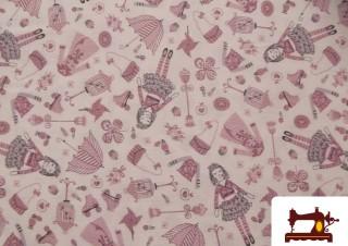 Tissu Rose Imprimé Poupées